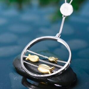 Image 2 - Lotus Fun pendentif en argent Sterling 925, bijou fin fait à la main, créatif, joyeux poisson, en mouvement, sans collier, pour femmes