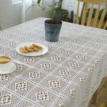 Rustic Knit White Crocheted Tablecloth Beige Lou empty Linen Cotton Dustproof Tea Table cloth Living room Restaurant Table cloth недорого