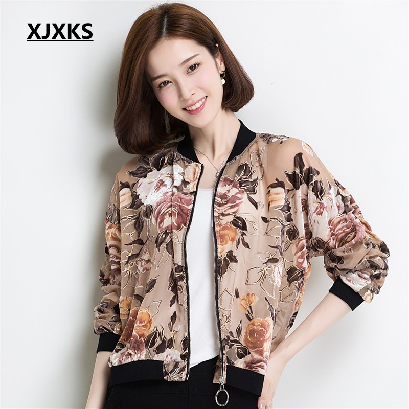 XJXKS Thin Coats Short Jackets New 2017 Fall Womens Clothing Nice Baseball Jacket Flower Coat Transparent Jacket Black Apricot