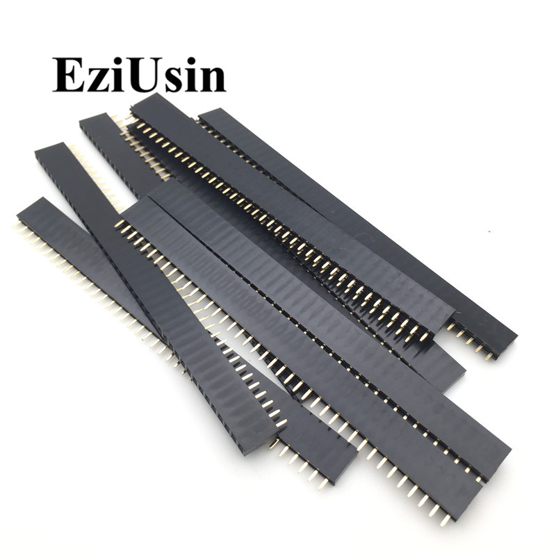 20pcs 10 pairs 40 Pin 1x40 Single Row Male and Female  2.54 Breakable Pin Header PCB JST Connector Strip for Arduino Black 3