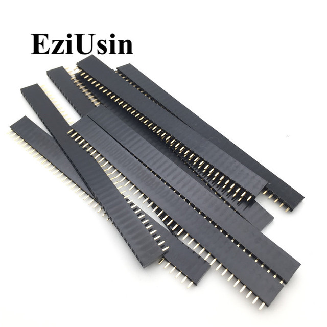 20pcs 10 pairs 40 Pin 1×40 Single Row Male and Female  2.54 Breakable Pin Header PCB JST Connector Strip for Arduino Black