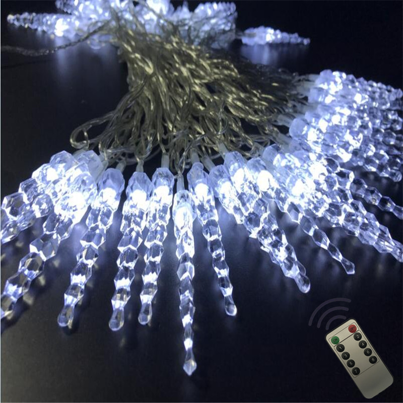 10M 50LED Icicle Fairy String Light LED Garland Wedding Party Lights Remote Outdoor Roof Curtain Garden Patio Holiday Decoration