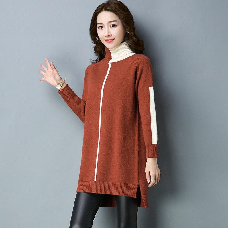 Long Haut Coréen green Femmes 2019 Mode Tricot En Hiver Chandail col De  Robe Demi Pull Automne ... 105609d27d7
