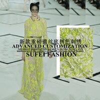 Распродажа! 130 см Широкий Желтый цветочной вышивкой Белое кружево grouding ткань для платья рубашки одежда