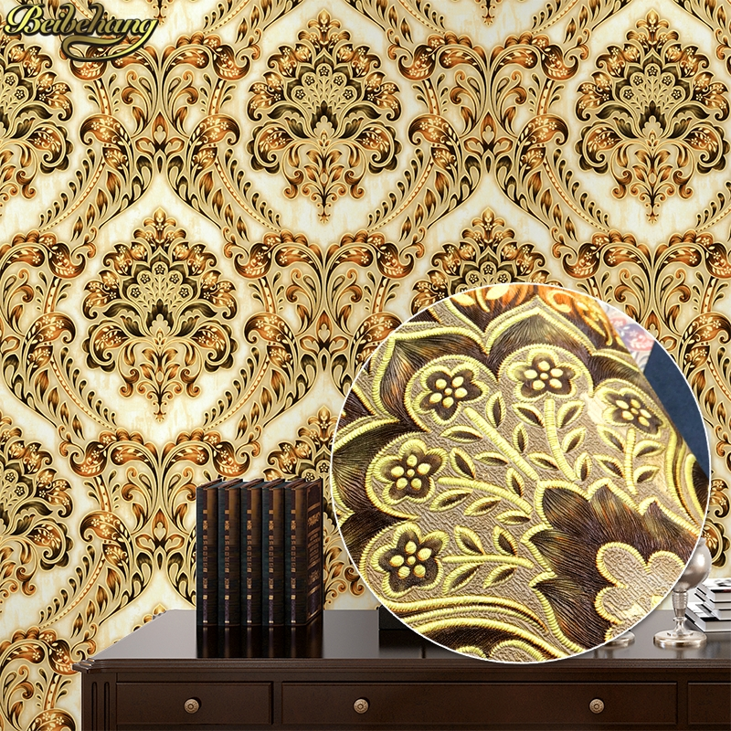 beibehang luxury European wall paper Damascus gold foil papel de parede 3D foil TV background wallpaper for wall KTV bedroom недорого