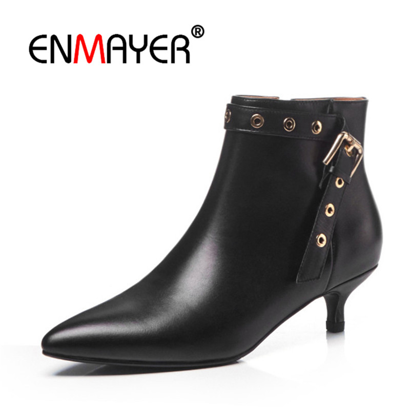 ENMAYER Women Ankle boots Pointed Toe Short boots Winter Shoes Thin heels Real Leather boots Size 34-41 Buckle Zipper CR1156ENMAYER Women Ankle boots Pointed Toe Short boots Winter Shoes Thin heels Real Leather boots Size 34-41 Buckle Zipper CR1156