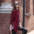 Veri Gude Plus Size Long Plaid Shirt for Women Street Fashion Long Sleeve Plaid Shirt Free Shipping