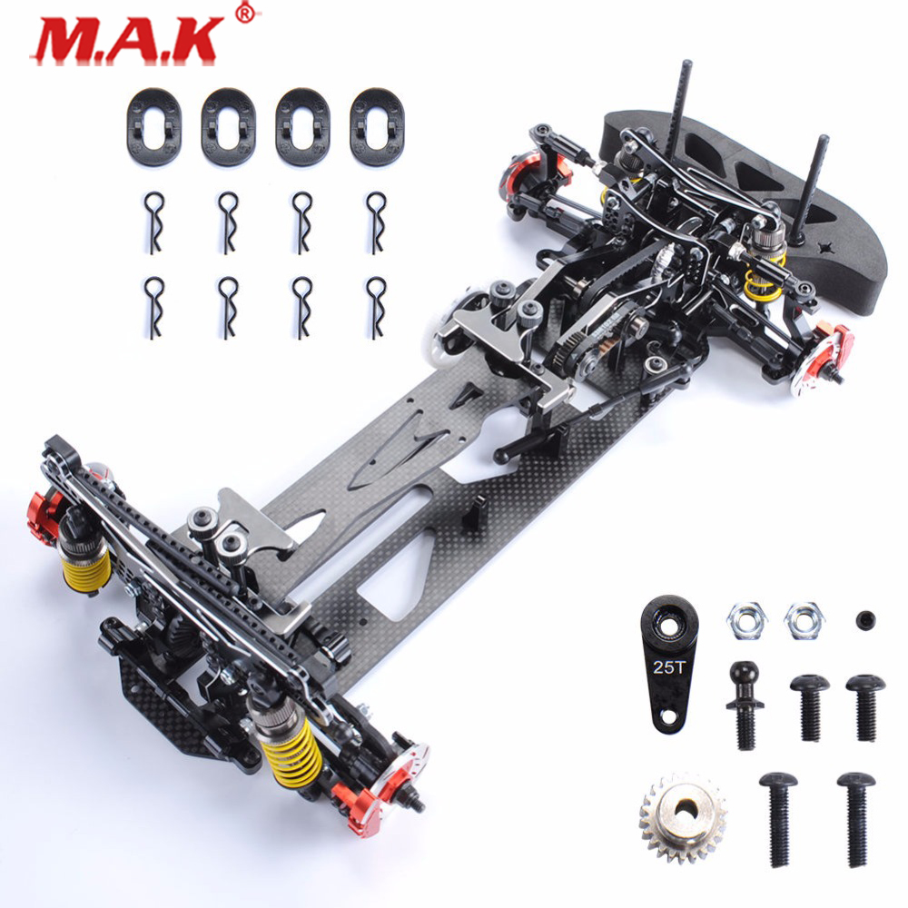 3 Color 1:10 Scale HSP Drift Racing Car Frame Body Kit In Alloy &Carbon Fiber Fit 1/10RC Control Car Model Parts And Accessories