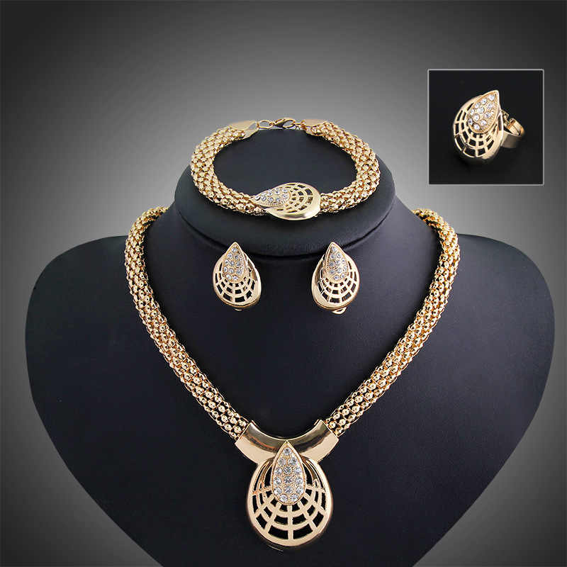 New Luxury Fashion Accessories Wedding African Beads Jewelry Set Statement Gold-Color Earring Bracelet Necklace Ring