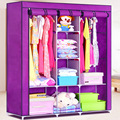 Simple cloth wardrobe thick reinforced steel double folding large wardrobe cabinet storage cabinets clothes special offer