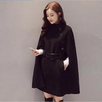 Black cloak bat woolen jacket female autumn and winter wear woolen coat wool oblique buckle fashion temperament jacket