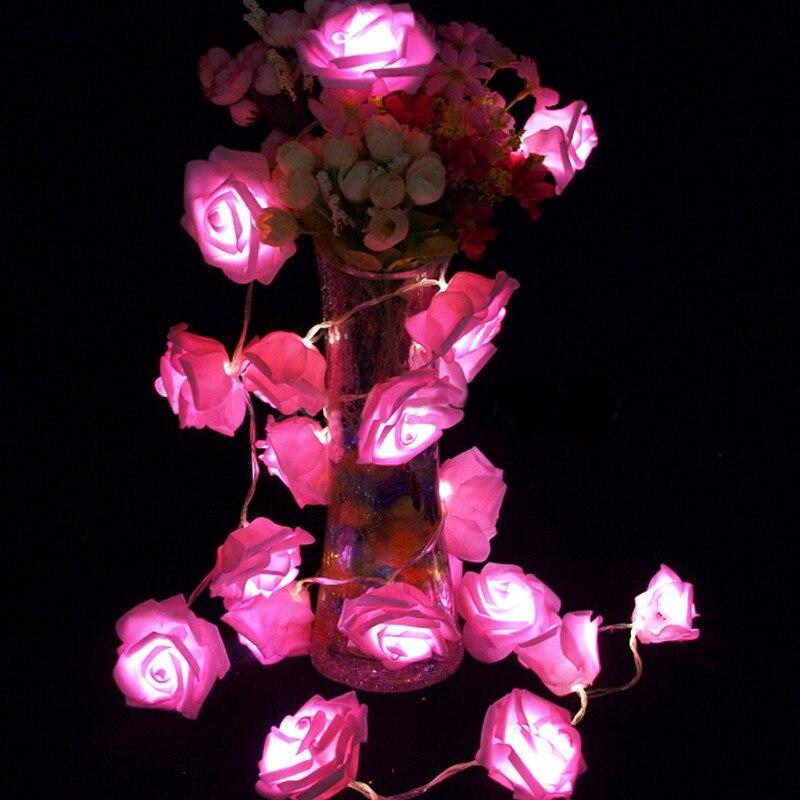 Garland 20pcs / set Rose Flower Fairy luces decorativas lampu tali - Pencahayaan perayaan - Foto 1