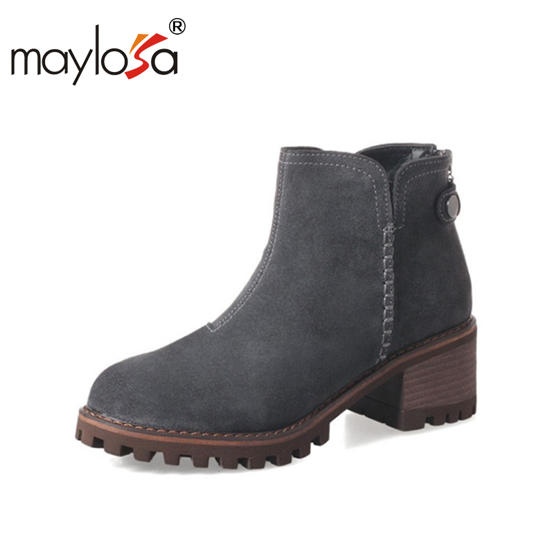 MAYLOSA women boots natural suede leather thick high heel lace-up martin boots genuine leather shoes square toe ankle boots vintage style women boots high heel woman ankle boots suede genuine leather platform shoes thick heels lace up martin boots