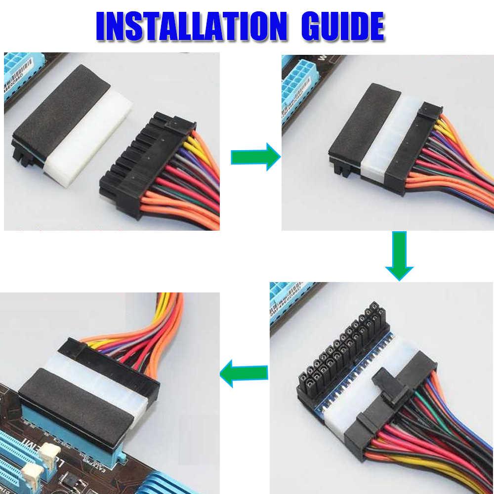 ATX 24Pin Atx 90 grados 24 pin a 24 pines adaptador de enchufe de alimentación placa base conectores de alimentación Modular Cables de fuente de alimentación
