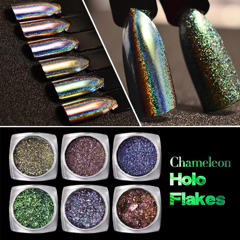 0.2 g / caja Láser Chameleon Holo Nail Art Flakes Polvos Copos Magic Mirror 2 Efectos Holographic Uñas Glitters Pigmento