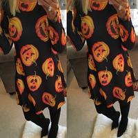 MUQGEW Ladies Women Halloween Pumpkin Print Long Sleeve Party Swing Mini Dress Dresses Feminine Floor Length