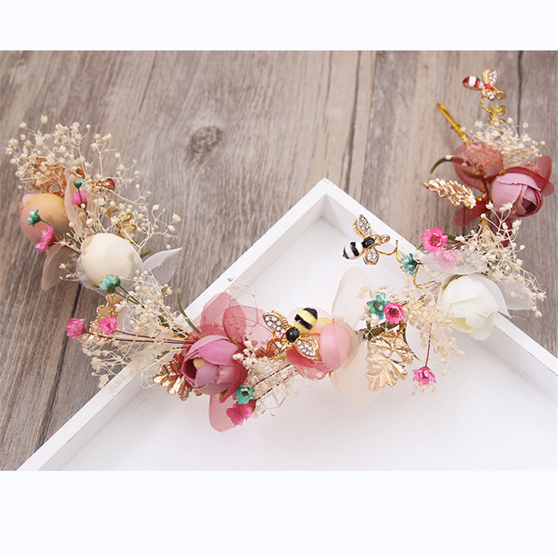 Handmade Eternal flower Wedding Tiaras Bride Headbands Hair Ornaments Bridal Jewelry Accessories For Women Prom Headdress handmade vogue big mesh fascinators hats for women party wedding bride show banquet rhinestone headwear hat shooting headdress