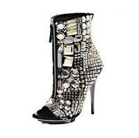 Роскошная обувь с украшением в виде кристаллов ботильоны с открытым носком для женская обувь на застежке молнии спереди сандалии гладиатор