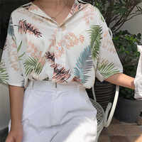 Hirigin Neue Chiffon Womens Casual One size Blusen Weibliche Hawaiian Fashion Floral Kurzarm Shirts Damen Sommer Lose Tops