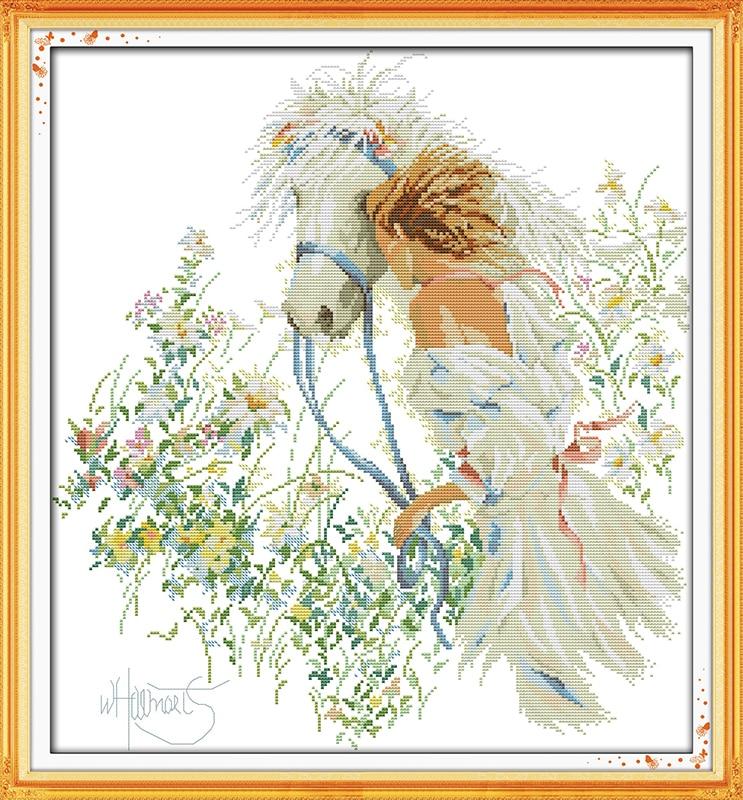 Wit Paard en Meisje Geteld 11CT 14CT DMC Kruissteek DIY Chinese - Kunsten, ambachten en naaien