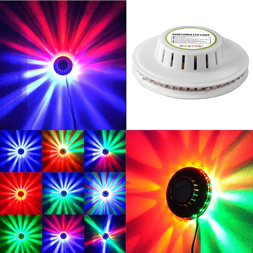 Image 2 - 8W 48LEDs RGB Auto Color Changing Rotating Sunflower UFO LED Stage Light Bar Disco Dancing Party DJ Club Pub Music Lights-in Stage Lighting Effect from Lights & Lighting on