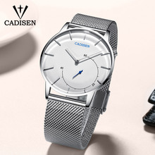C2029 CADISEN Mens Watches To Brand Luxury Curved glass  Men Business Casual Creative Mesh Strap Quartz Watch Relogio Masculino