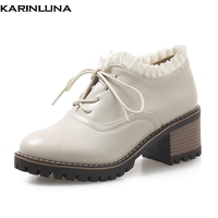 Karinluna 2018 Large Size 33 43 Fashion Lace Up Women Boots Shoes Woman Square Heels Dropship Ankle Boots Female Shoes Booties