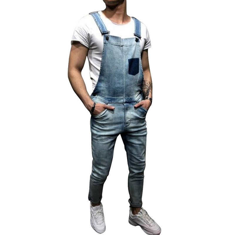 Laamei Fashion Men's Ripped   Jeans   Jumpsuits 2019 Summer Street Distressed Denim Bib Overalls For Man Suspender Pants Size S-XXL