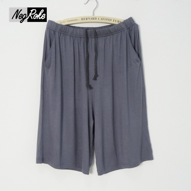 Summer soft modal male sleep bottoms pure color casual sleep lounge beach pants for men plus size britches homewear shorts