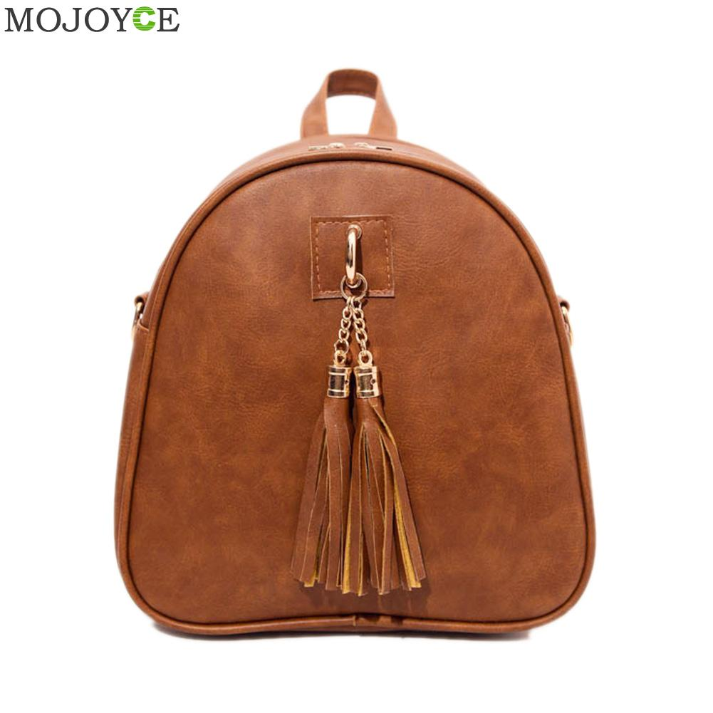 Fashion Women PU Leather Backpack Mini Tassel Backpack School Bags for Teenage Girls Rucksack Shoulder Bag Mochila Escolar new printing pu leather backpack women shoulder rucksack university bags for teenage girls designer brand korean femme