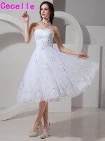 2017 Blanco Corto de Novia Vestidos de Novia Longitud de La Rodilla Apliques Con Cuentas vestido de Novia de Recepción Corto Vestidos de Boda Real