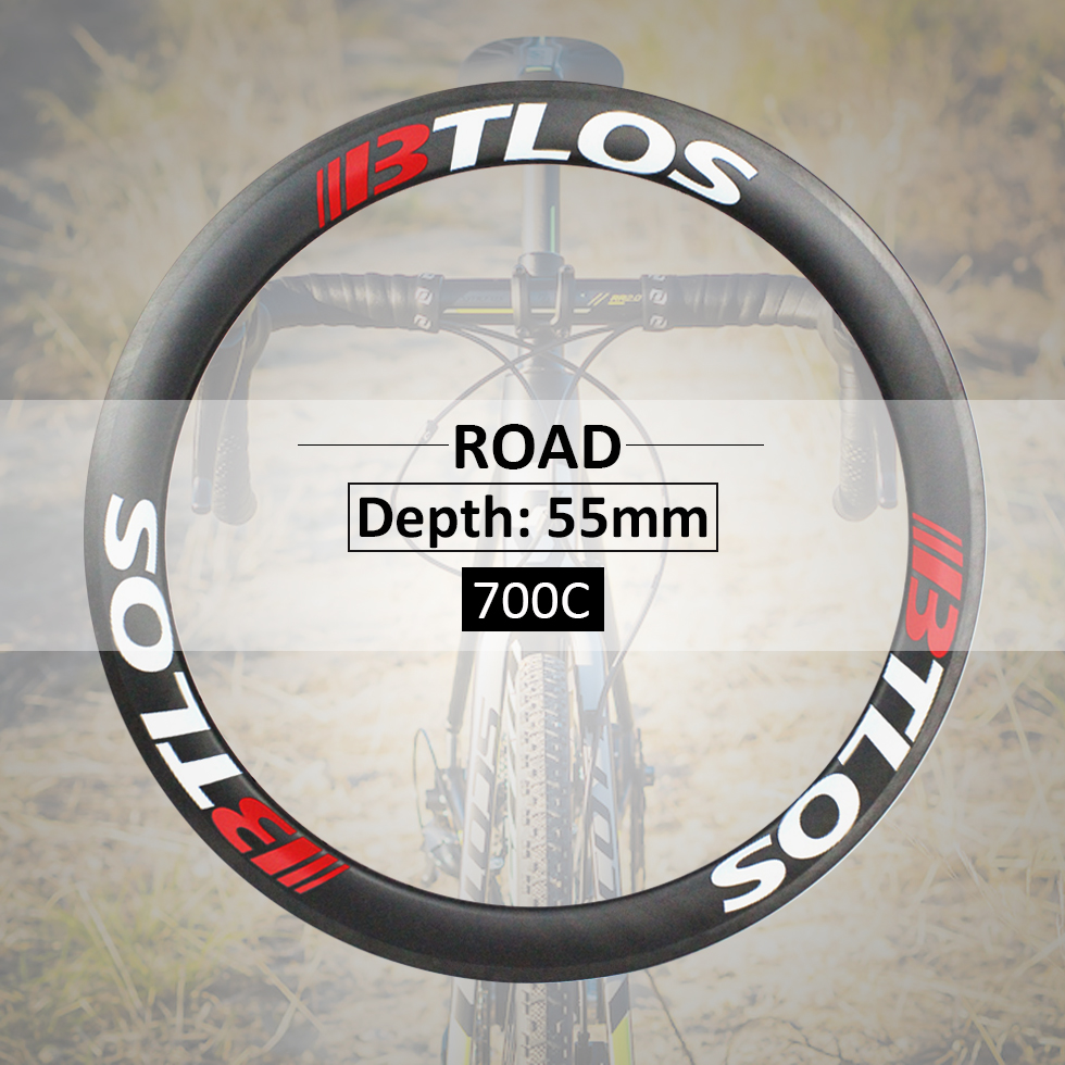 lightweight carbon fiber 700c rims 55mm deep tubular for triathlon cyclocross road bike RT 55