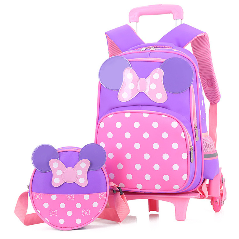 Girls Bow Trolley School Bags Cartoon Transformer Trolley School Bag Children Transformer Rolling Backpack for Kids Schoolbags primary children cartoon mickey school bags 2016 kids cartoon backpack waterproof schoolbags satchel for boys and girls