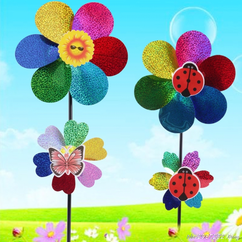Colorful Sequins Windmill Wind Spinner Home Garden Yard Decoration Kids Toy  CHE1