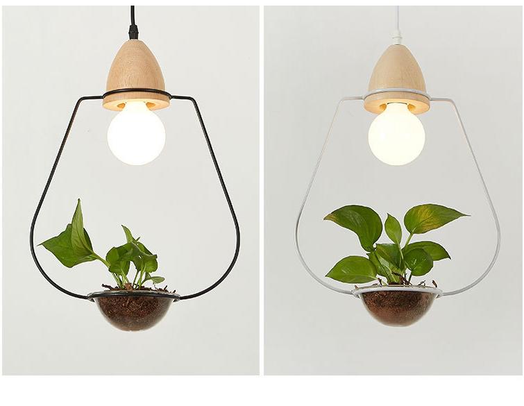 Art Deco Led Plant Pendant Light With Wood Base Creative Rustic