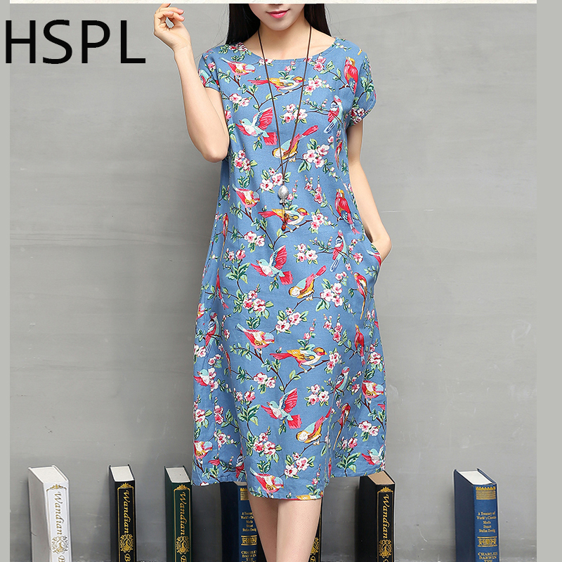 Buy Cheap Summer Dress 2016 Ladies Retro Vintage Floral Printed Cotton Linen tunic Loose Flower dashiki bayan elbise New Style Dresses