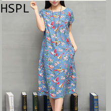 Summer Dress 2016 Ladies Retro Vintage Floral Printed Cotton Linen tunic Loose Flower dashiki bayan elbise New Style Dresses