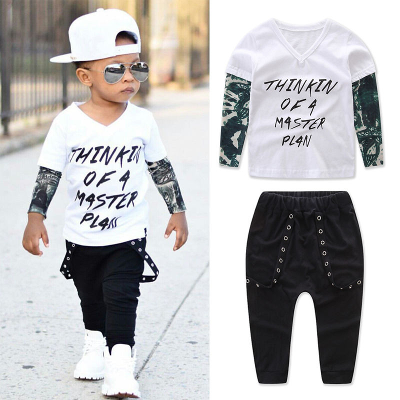 Fashion Newborn Toddler Infant Baby Boys Clothes Long Sleeve Letter T-shirt Tops Rivet Long Pants 2pcs Outfits Set 2018 New