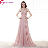 A-Line Lace Applique Chiffon long gowns Sheer Neck Backless Evening Dress Pink Party Custom Made Prom Dresses