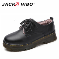 JACKSHIBO Genuine Leather Oxford Shoes Woman Cow Leather Martin Ankle Female Casual Shoes Add Fur Ladies