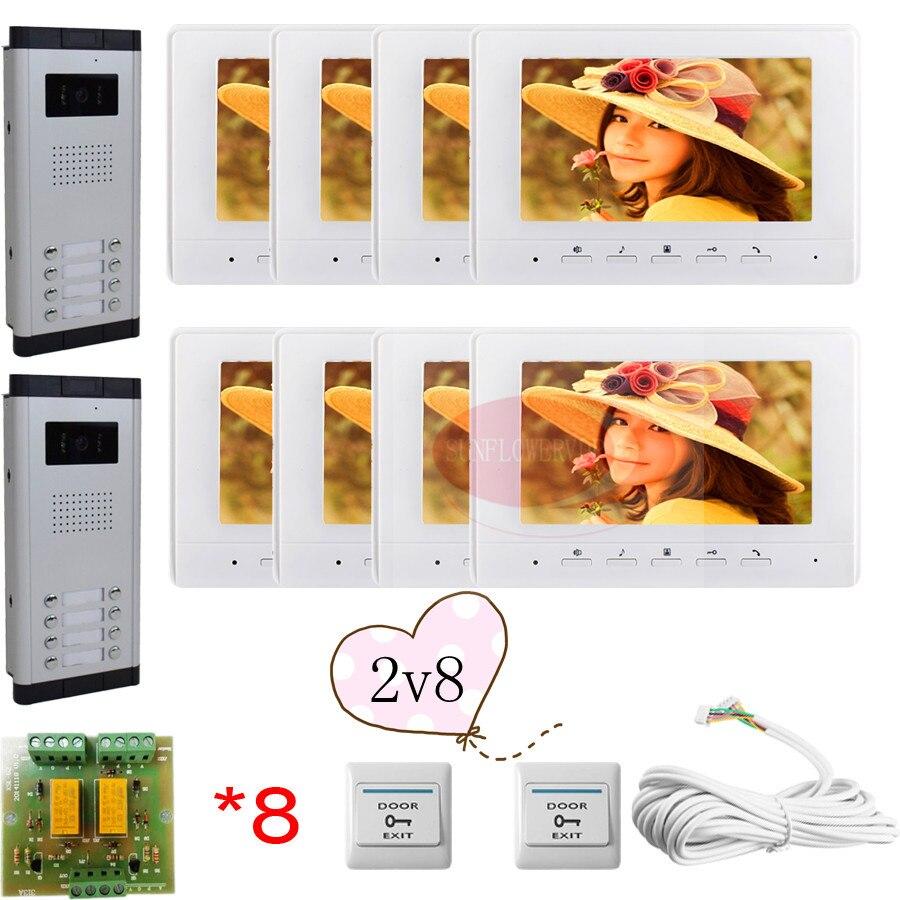 """8 Buttons Infared CCD Camera Color 7"""" HD 700lines Color Indoor Monitors Video DoorPhone Intercom Doorbell For 2 Doors In Stock!"""