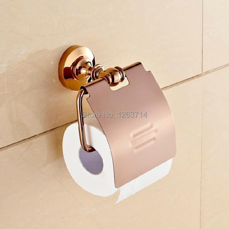 Bathroom Accessories Products Solid Brass Rose Golden Toilet Paper Holder,Roll Holder,Tissue Holder Free Shipping OG-25851E toilet paper holder roll holder tissue holder bathroom accessories products