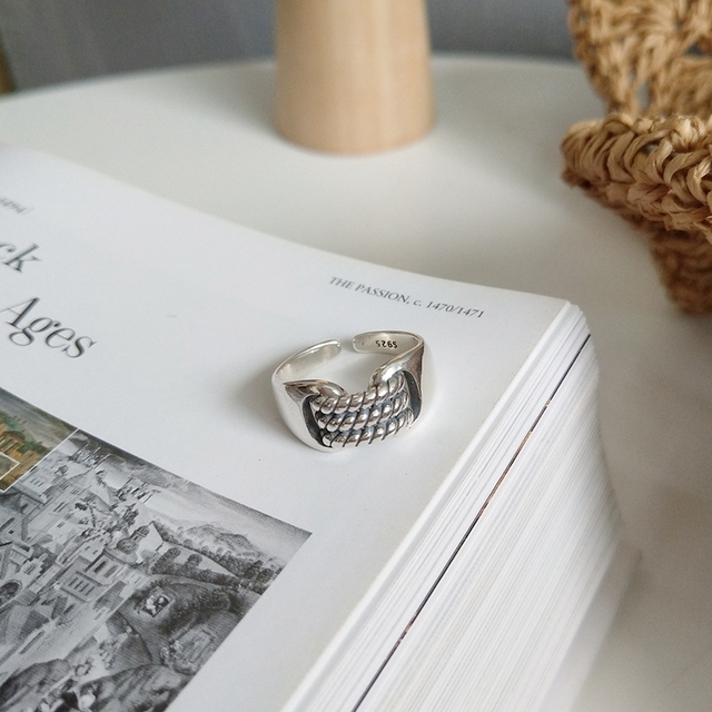 925 sterling silver personality woven vintage rings simple new design fashion ri