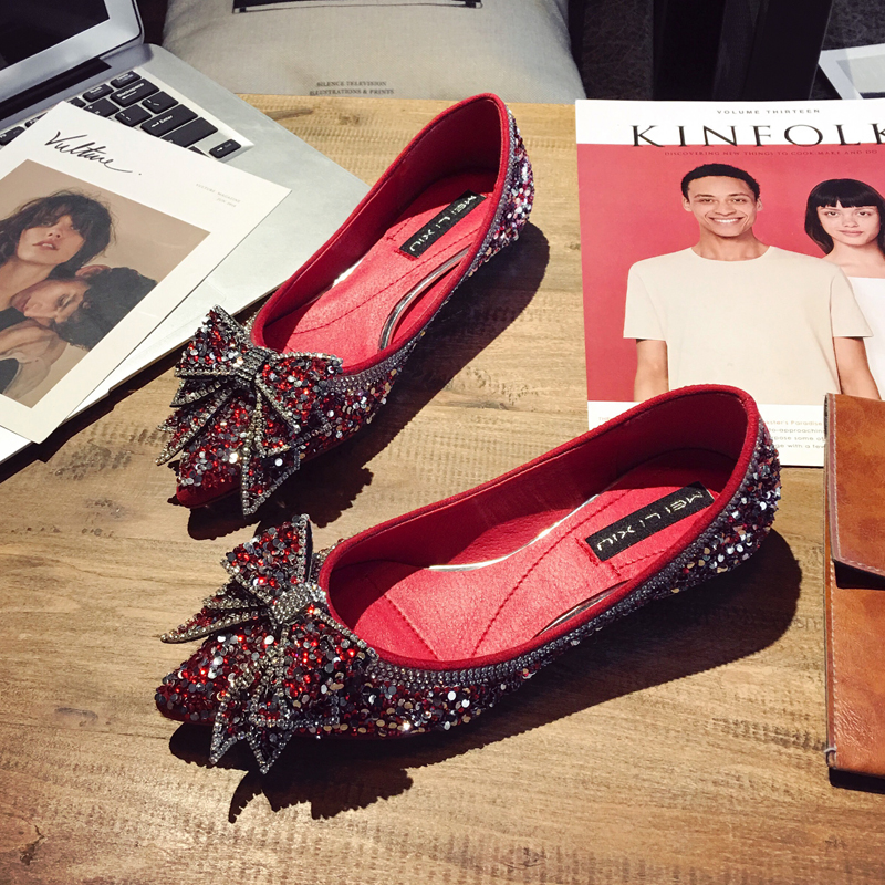 c4bf840addef Womens Round Toe Sequins Rhinestones Bowknot Bow tie Loafers Flat Casual  Boat Shoes Bling Shiny Black Red Gold Sliver