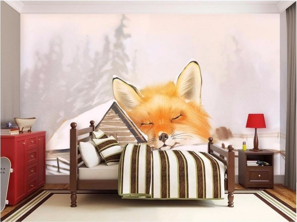 WDBH Custom Mural 3d Wallpaper Snow Wooden Bed Fox Home Decoration Painting Wall Murals For 3 D In Wallpapers From Improvement On