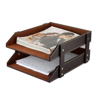 Double Couche PU Cuir Fichier Document Plateau étagère Boîte De Rangement Bureau Organisateur Maison Bureau Fournitures ZA4638
