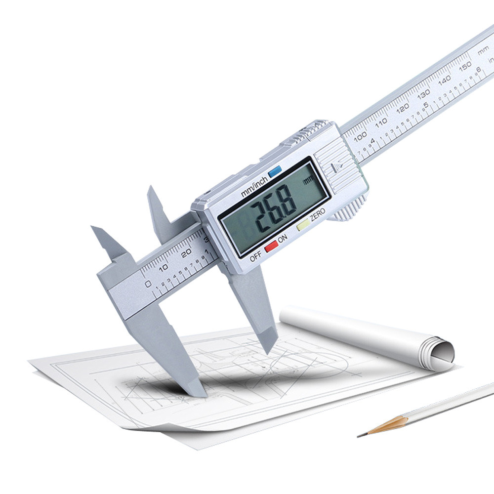 150mm 6 Inch LCD Digital Electronic Carbon Fiber Vernier Caliper Gauge Micrometer Measuring Tool Accurate Digital Ruler