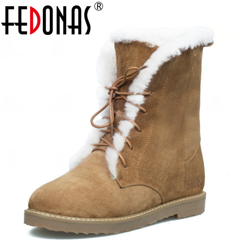 FEDONAS Woman Warm Wool Snow Boots Winter Genuine Leather Thick High Heeled Motorcycle Boots Shoes Women Cow Suede Quality Boot 2017 cow suede genuine leather female boots all season winter short plush to keep warm ankle boot solid snow boot bota feminina