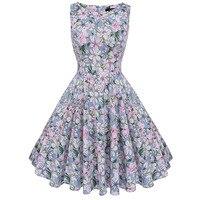 Sisjuly Vintage 1950s 60s Dresses Summer Light Blue Women Floral Print Ball Dress O Neck 2017