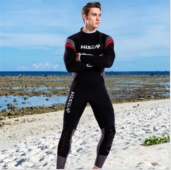 Hisea 1.5mm neoprene mens surf wetsuit one-piece diving suit long-sleeve swimwear black gray contrast- collar010
